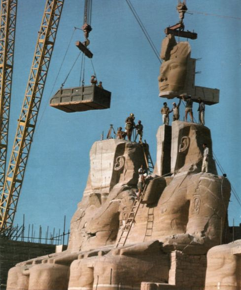 The statue of Ramses the Great at the Great Temple of Abu Simbel is reassembled after having been moved in 1967 to save it from being flooded. (image source: sv:Forskning & Framsteg 1967 issue 3, page 16)