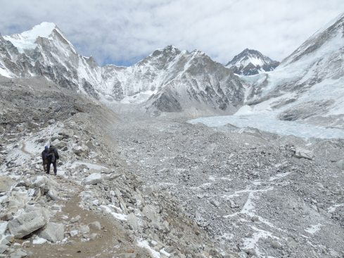 Approaching Everest Base Camp with Khumbu icefall and glacier (Photo by Rob Martin)