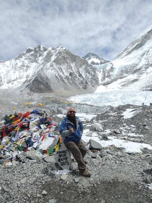 At Everest Base Camp - see the orange tents in the background. (Photo by Rob Martin)