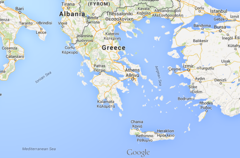 Screen shot of Greece from Google Maps.