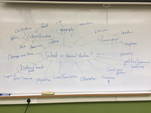 An example of a brainstorm to the question: What is Social Studies?