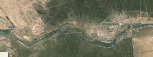 Screenshot of Euphrates River from Google Maps. You can see how fertile (green) the land is near the river (vs. the desert).