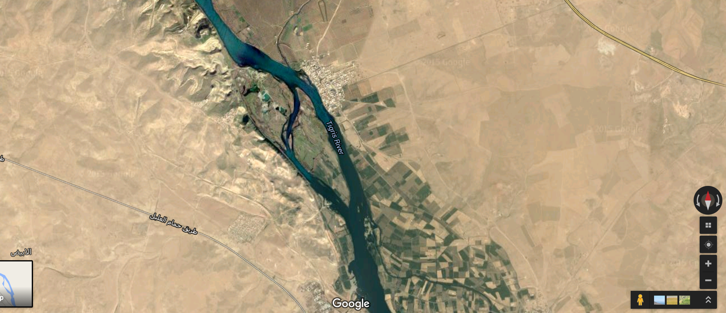 Screenshot of Tigris River  in Iraq from Google Maps.