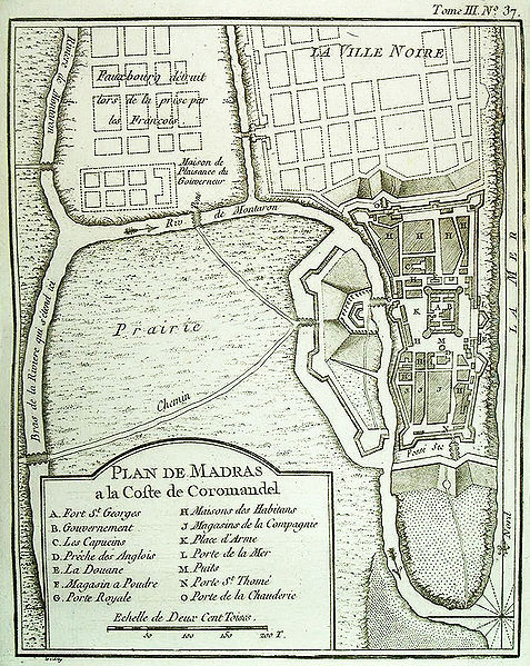 Old map of Chennai (Madras)