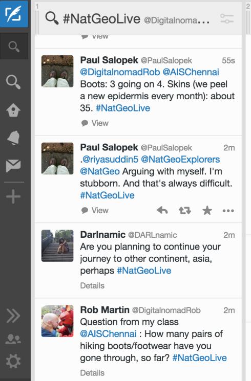 Screenshot of Twitter chat (October 7, 2015)