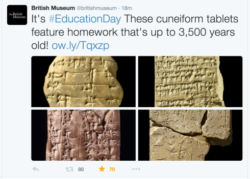 Screenshot from the British Museum Twitter Post (Oct. 15, 2015)