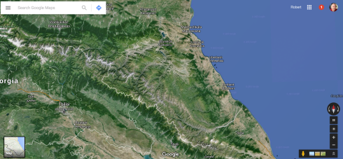 Screenshot of the terrain (land) that Paul will be walking across to reach the Caspian Sea (Google Maps)